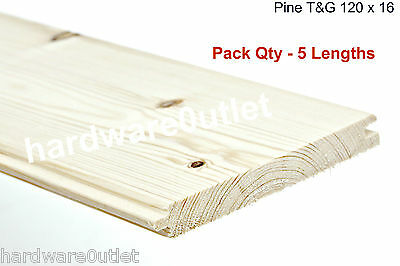 5 Pack T & G Pine 120 mm Floor Board Shed Stable Door Hatch Garden Gate Timber