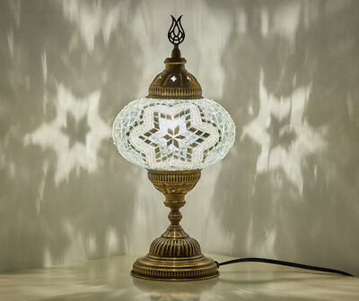 Turkish Moroccan Mosaic Table Bedside Desk Night Lamp Light Lampshade for US/UK