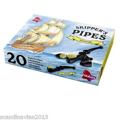 Malaco Skipper's Licorice Pipes SEA SALT Box 20 Pcs 325g (11.4 oz) Made n Sweden