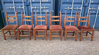 Set Of Six Retro Gothic Dining Chairs, Wood Frames, Pine?, Fabric Pads High Back