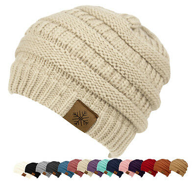 00231bc61b834 NEW WOMENS KNIT Slouchy Beanie Oversized Thick Cap Hat Unisex ...