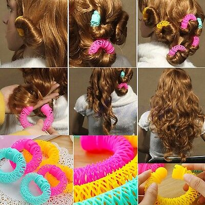 6-8 Pcs Hairdress Magic Bendy Hair Styling Roller Curler Spiral Curls DIY Tool