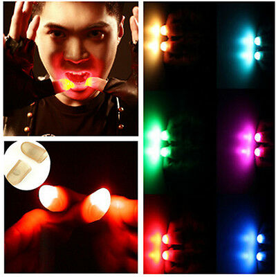 2Pcs Flashing Light Thumbs Fingers Trick Appearing Light Lamp Close Up