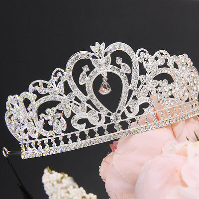 Bridal Princess Stunning Crystal Hair Tiara Wedding Crown Veil Headband Austrian