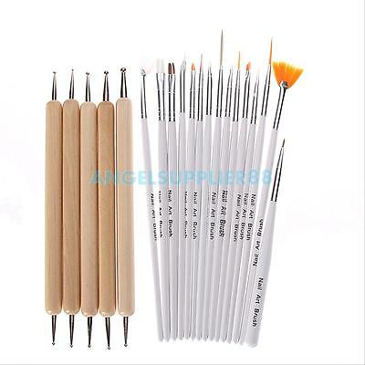 Hot 20Pcs Nail Art UV Gel Design Brush Set Painting Pen Manicure Tips DIY Tools