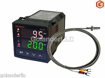 Dual Display Digital PID F/C Temperature Controller with K Thermocouple,1/16 DIN