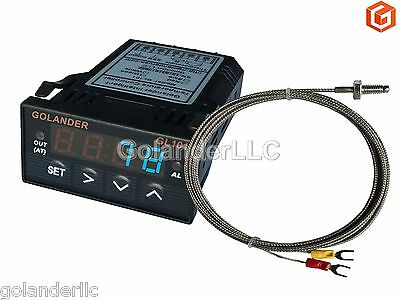 Universal 1/32DIN Digital PID Temperature Controller, Blue with K thermocouple