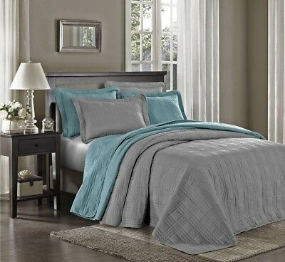 """3-piece Soft Oversized 118""""x106"""" Plaid Quilted Bedspread Coverlet Set King, Gray"""