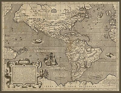 """1600's Map North South, antique AMERICA, Historic Print, quality, ships,  17""""x13"""