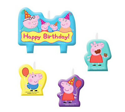 Peppa Pig Party Supplies 4 Mini Moulded Candles Set Genuine Licensed
