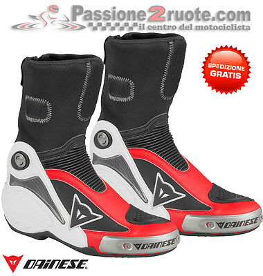 Stivali Dainese Axial Pro In Bianco Rosso Moto Racing Boots