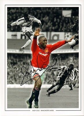 Signed Andrew Andy Cole Manchester United Autograph Photo Montage + Proof