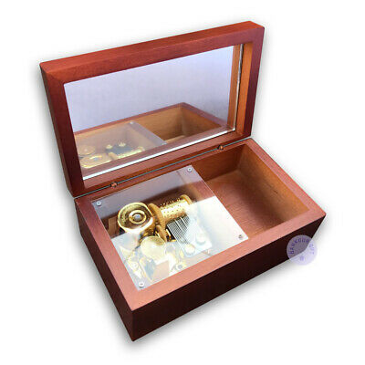 Brown Wooden Sankyo Vintage Music Boxes With a Jewelry Box (48 Tunes Option)