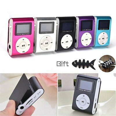 Mini Clip-on LCD Screen MP3 Player Support 2/4/8/16/32GB Micro SD/TF Card + gift