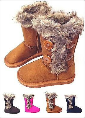 Girls Kids 4-buttons Comfort Fully Faux Fur Lining Winter Snow Warm Boots New