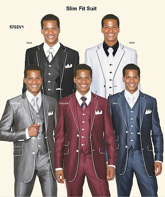 Men's Slim Fit Wool Feel Suit With Matching Vest And Pants 5 Colors 38R~56L