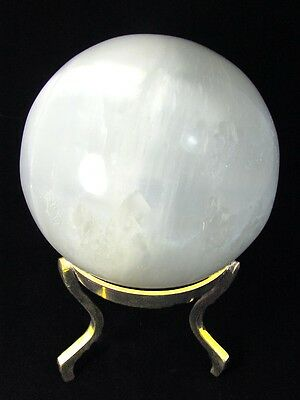 "BUTW- Luminescent Selenite 4.6"" Gazing Healing Sphere With Stand Lapidary 1761P"