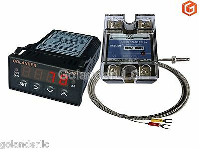 Universal 1/32DIN PID Temperature Controller, Red + 25A SSR + K thermocouple