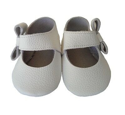 Genuine Leather baby footwear Bow white shoes 10.5cm 11.5cm 12.5cm soft soles