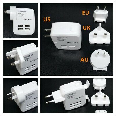 Universal Travel Adapter 4 USB Charger AC Power AU EU US UK International Plug