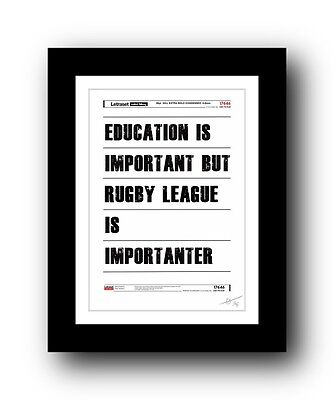 Rugby League ❤ poster art signed limited edition print - cool gift present