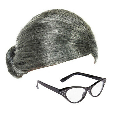Grey Granny Wig and Half-Moon Glasses Mrs Claus Fancy Dress Accessories