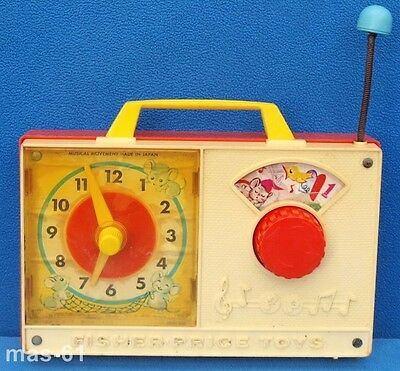Fisher Price Music Box Clock Radio 107 Spieluhr Vintage Hickory Dickory Dock
