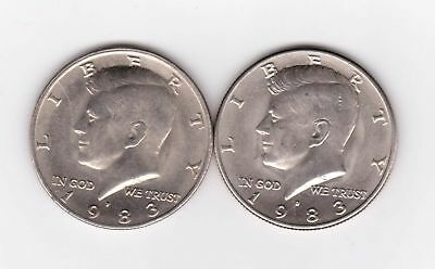 1983 P&D Kennedy Half Dollar Set AU/BU Clad no Silver 50 Cent About UNC MS Mint