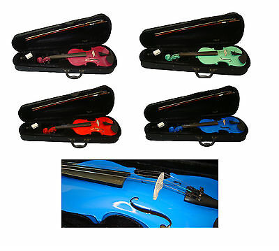 Student Violin 3/4 or 4/4 with Case & Bow 4 Vibrant Colours