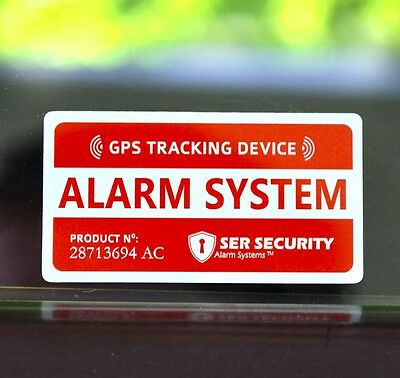 4 CAR ALARM SECURITY STICKER DECAL GPS Tracking Device Alert Window Warning