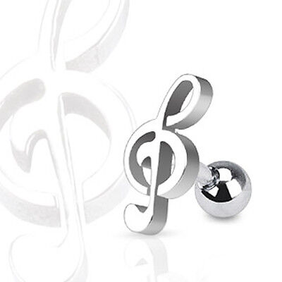 Brand New Surgical Steel Treble Clef Music Note Tragus / Cartilage Piercing Stud