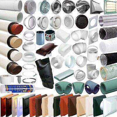"""4"""" 100mm Plastic Round Ducting Ventilation Tube Extractor Fan Vent Pipe fittings"""