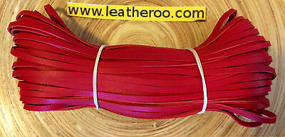 "Kangaroo Lace RED Kangaroo Leather Lacing 4.7mm (3/16"") Width 10 meter hank"