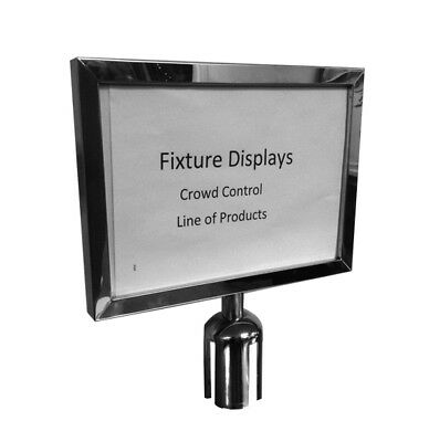 Crowd Control Stanchion Queue Barrier Retractable Post Sign Holder 11x8.5""