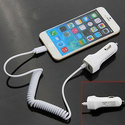 5V/2.1A Power USB Auto Car Charger with Coiled Spring USB Cable For iPhone 6 6S