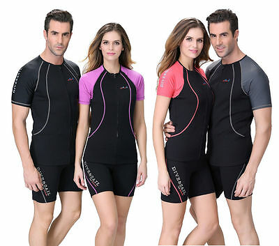 1.5mm Neoprene Scuba Short Sleeves Diving Surf Wetsuit Rash Vest Rashguard Tops