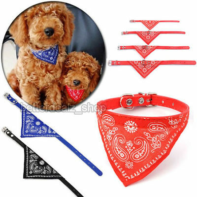 Pet Collar Dog Cat Puppy Bandana Adjustable Neck Triangle Leather Scarf Bow Tie