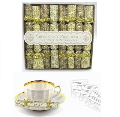 Pack Of 8 Mini Breakfast Afternoon Tea Saucer Christmas Crackers - Gold & Cream