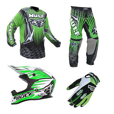 Adult MX Wulf Wulfsport Quad 2016 Arena Pant Shirt Helmet & Gloves Green #A11