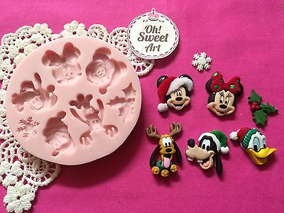 Christmas Disney Mickey friends Silicone Mold Food  Decoration Cupcake (FDA)