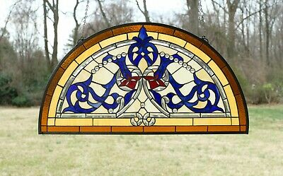 "Half Round Tiffany Style stained glass window Beveled Glass panel , 34"" x 18.25"""