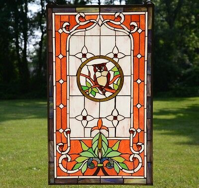 "20"" x 34"" Large Tiffany Style stained glass window panel owl"