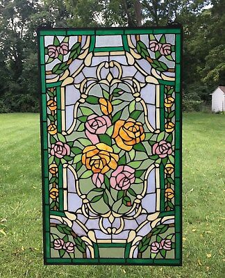 "Rose Flower Handcrafted stained glass window panel,  20"" x 34"""