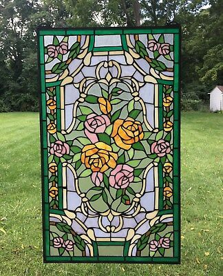 "Rose Flower Tiffany Style stained glass window panel,  20"" x 34"""