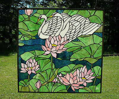 "24"" x 24"" Tiffany Style stained glass window panel water lily swan Lotus"