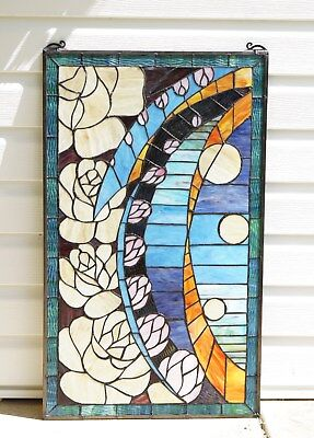 "Flowers Handcrafted stained glass window panel, 20"" x 34"""