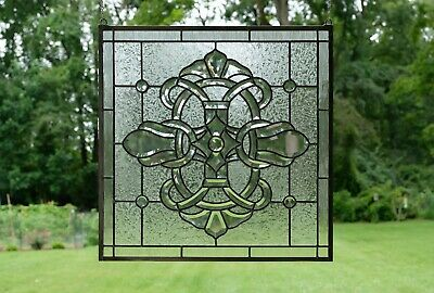 """Handcrafted stained glass Clear Beveled window panel 24"""" x 24"""""""