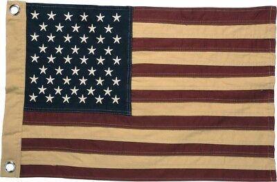 """Primitive Colonial Cotton 26"""" x 17"""" American """"Aged"""" FLAG"""