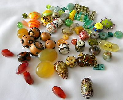 DESTASH Mixed Lot Lampwork Beads Mood Beads Polymer Clay Chalcedony Variety
