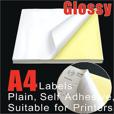 100 Sheets A4 Glossy Self-Adhesive Sticker Label Laser Print Paper Full A4